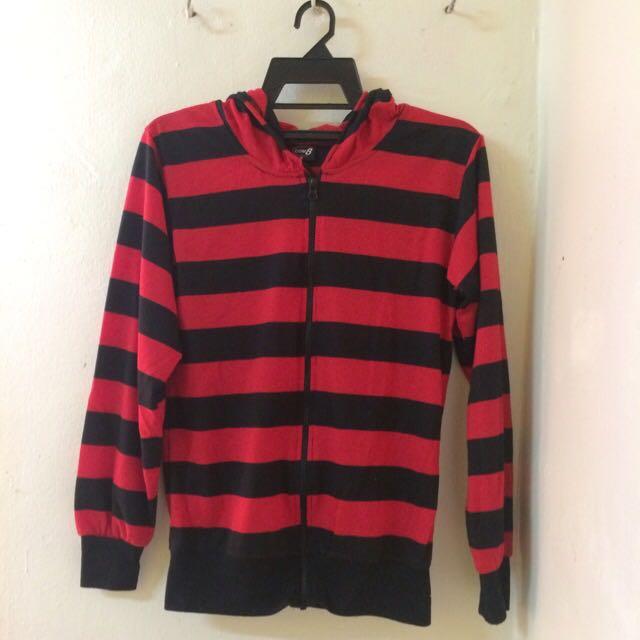 Hoodies Red & Black Stripes