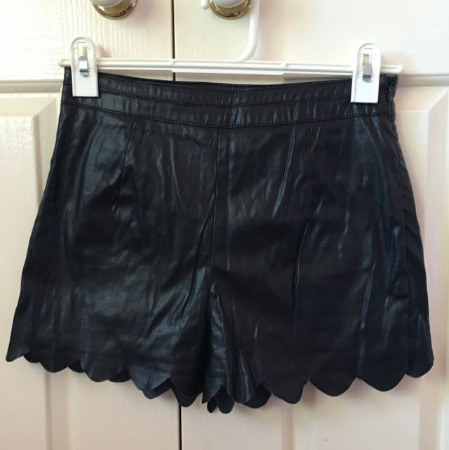 IMPRINT Faux Leather Scalloped High Waisted Shorts