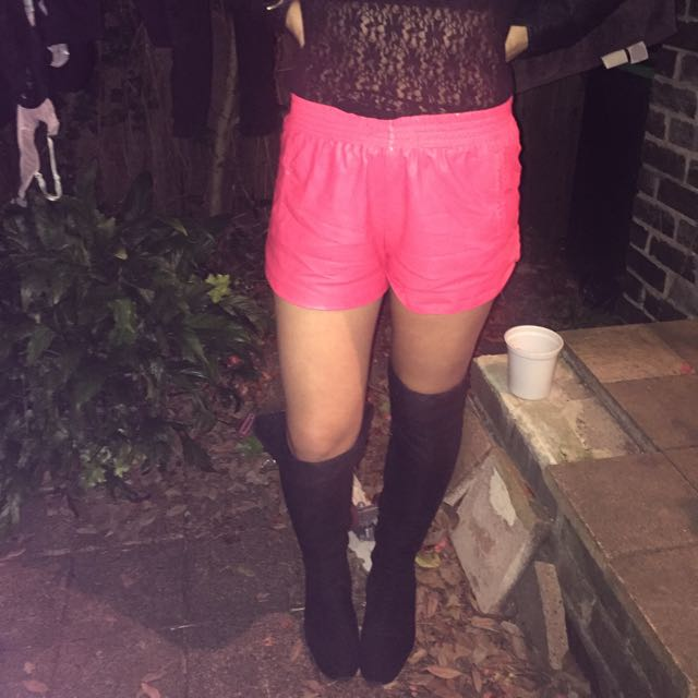 Pink Leather Look Shorts