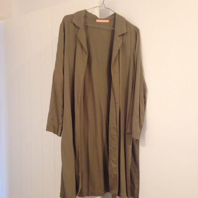Long Khaki Coat With Side Splits