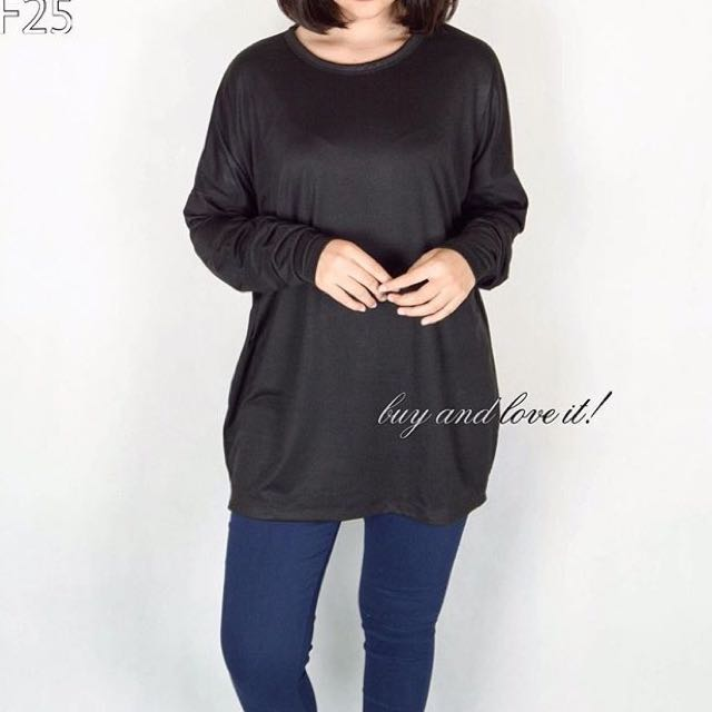 NEW!! BnL Oversized Long Sleeve Black Top
