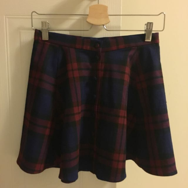 Plaid High-Waisted Skirt