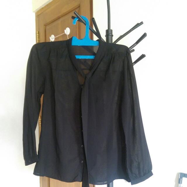 See Through Black Long Sleeve Blouse