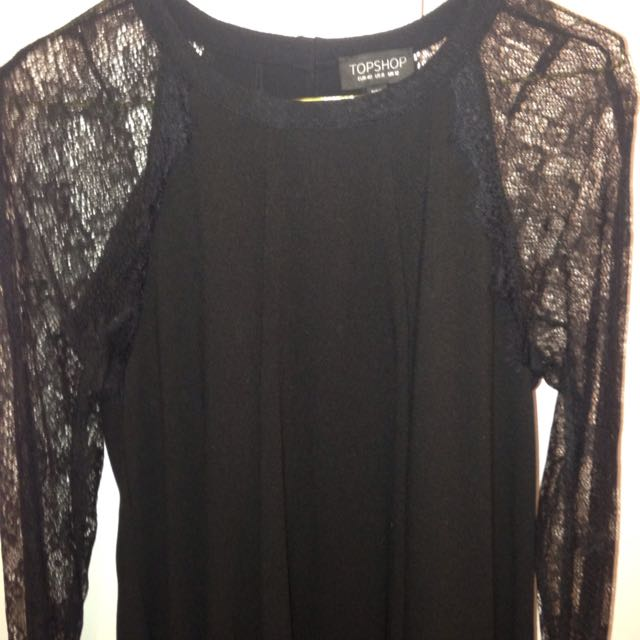 TopShop Black Dress With Lace Sleeves