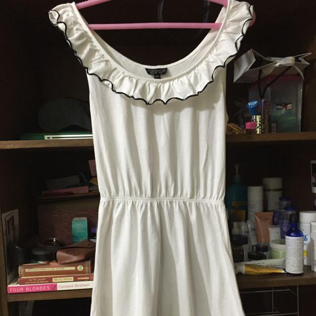 Topshop White Scallop Dress