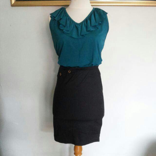 Tosca Ruffles Blouse + Black Skirt (One Set)