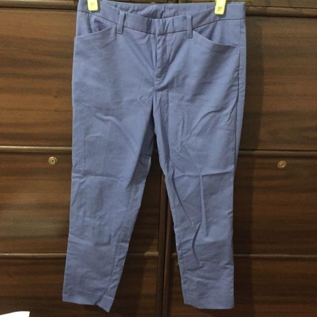 全新💗uniqlo 九分西裝褲 藍紫色 腰圍58cm