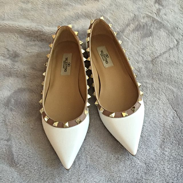 Valentino White Leather Rock Stud Flats