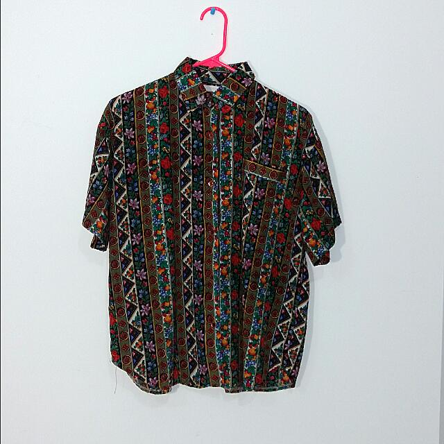 Vintage Style Print Button Up Shirt