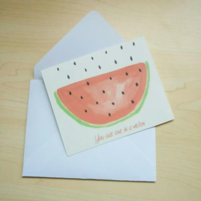 FREE SHIPPING Watermelon Watercolour Art Card With Envelope