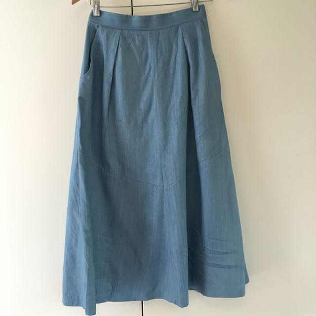 White Suede Chambray Midi Skirt Size 8