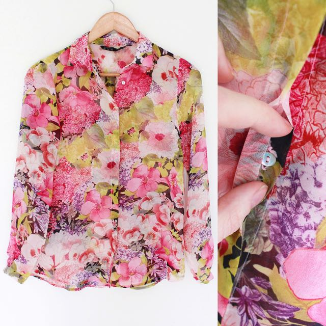 ZARA Colourful Floral Blouse