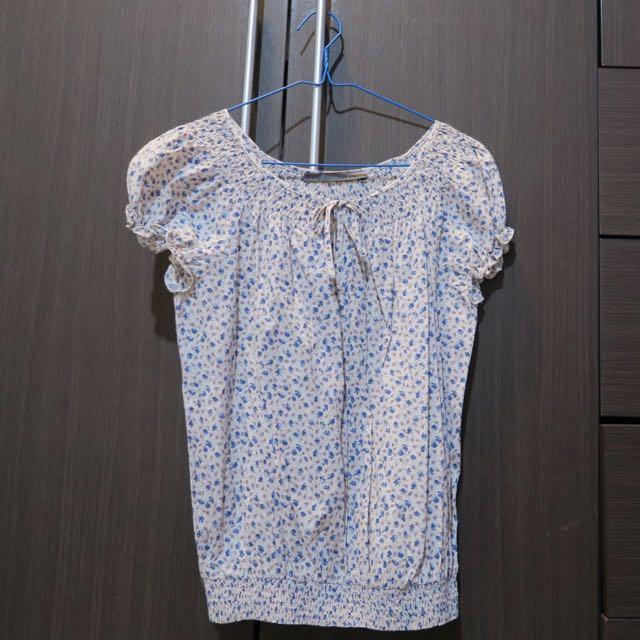 'Zara' White Blue Floral Shirt