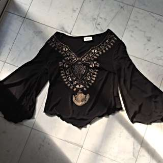 Gypsy Boho Free Spirit Festival Top Open Wide Sleeve Beaded Black Brand New Never Worn