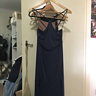 navy halter maxi (ball) dress