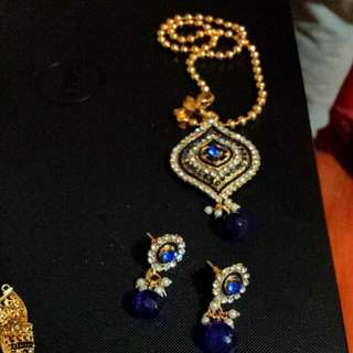 Set Necklace And Earings Gold Plate