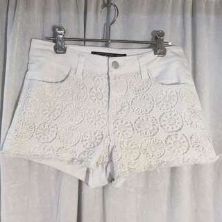 White Crochet Detail Shorts