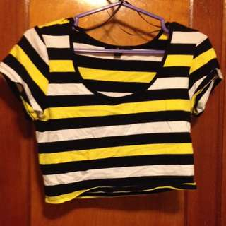 Yellow, Black&White Crop Top