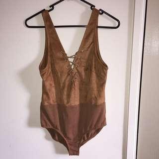 Lace Bodysuit Tan Size 8