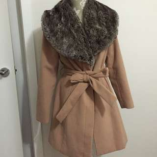 Fully Lined Fur Collar Coat