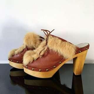 Leathered/furred Slipper Wooden Heels