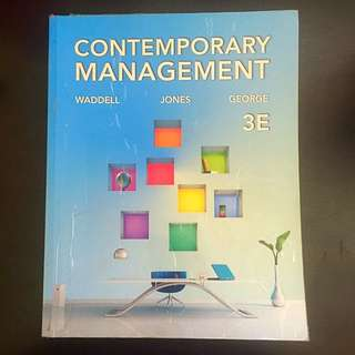 Contemporary Management (Waddell, Jones, George)