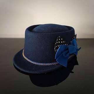 Bowed Navy Blue Cap