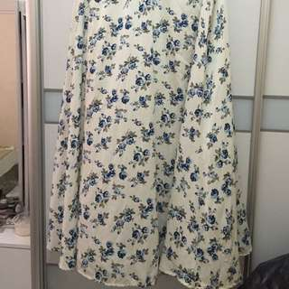 Floral A Cut Skirt With Lining