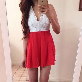 White And Red Playsuit - Small