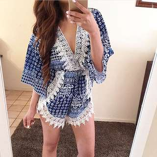 Blue Printed Playsuit