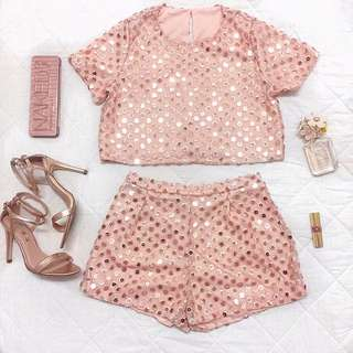 Rose Gold Crop Top And Shorts Set