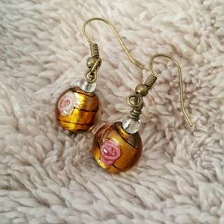 Lampwork earrings with rose details. Amber coloured glass. Handmade in Brisbane :)