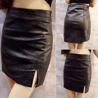 修身顯瘦側開小叉皮質半身群短裙包臀裙AA0421