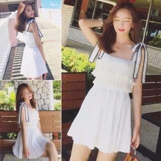 繫帶蝴蝶結吊帶連衣裙荷葉邊顯瘦女裝裙子洋裝AA0433
