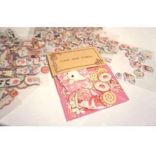 Cute Japanese style stickers ( dessert and dog, 70 pieces )