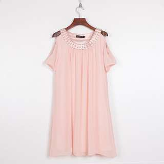 氣質露肩雪紡粉紅色洋裝連衣裙(轉賣)