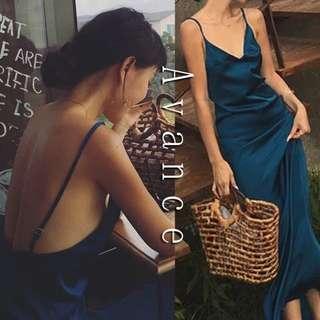 Avance金屬光澤藍綠色背心長洋裝連身裙露背性感