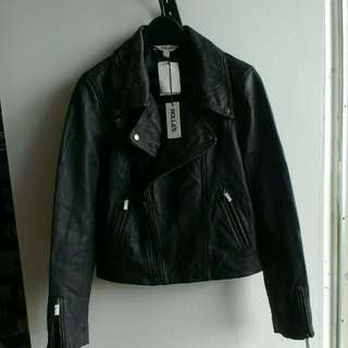 Leather Moto Cropped Jacket (Rolla's)