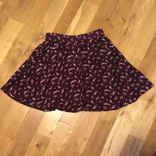 Floral Burgundy Skirt
