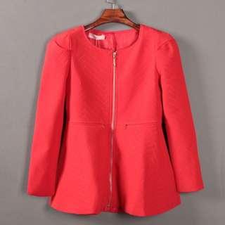 時尚圓領修身紅色短大衣外套(轉賣)