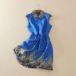 全新 可愛淘氣藍色洋裝連衣裙(轉賣)