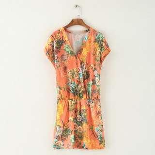 全新 時尚甜美氣質百搭V領橘印花洋裝連衣裙(轉賣)