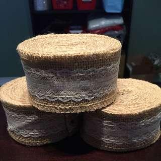 Burlap / Jute And Lace Ribbon - Wedding Decor