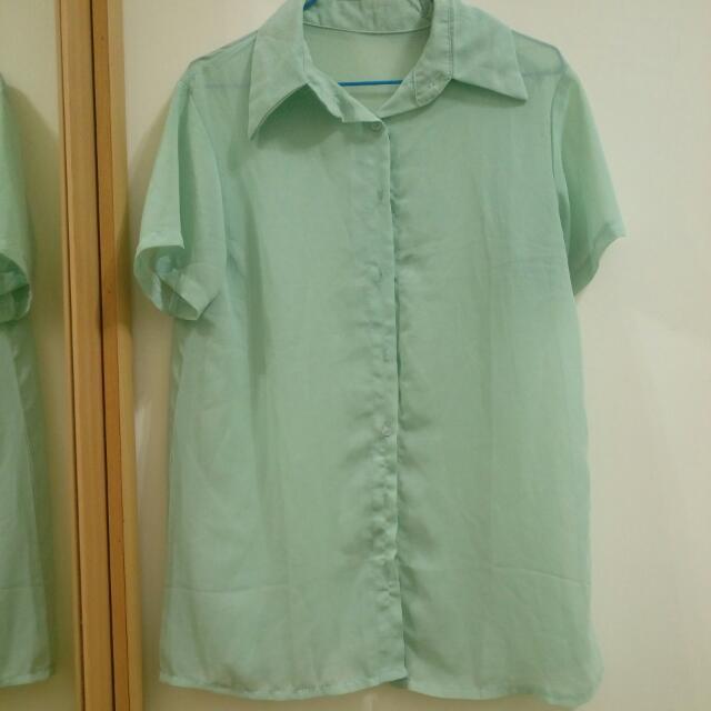 綠色雪紡短袖襯衫