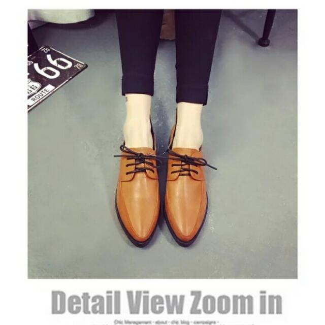 (降價求賣出)歐美系尖頭棕時尚感平底鞋