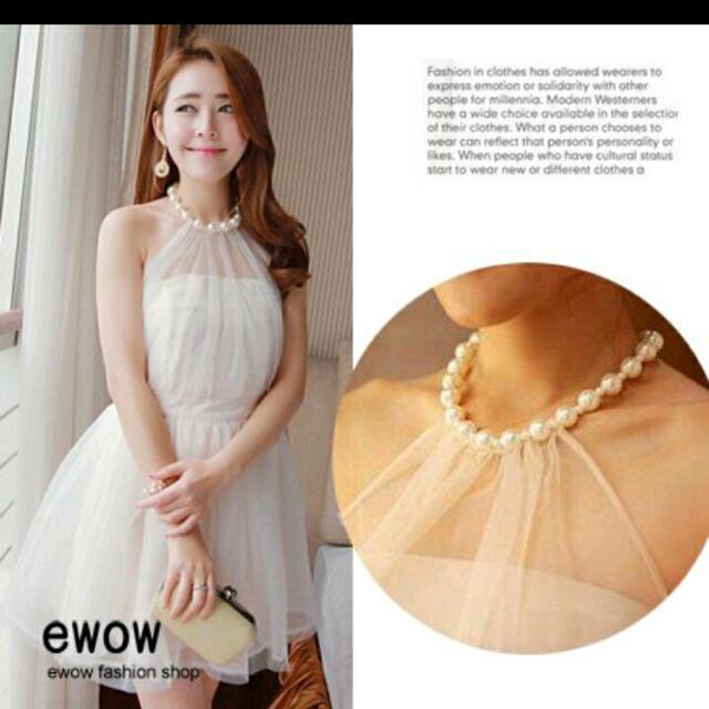 (降價求賣出)韓系甜美珍珠白紗小洋裝