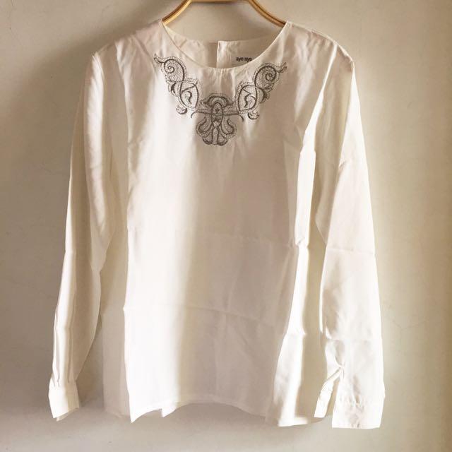 🎈古著🎈日本製高質感精緻刺繡雪紡上衣