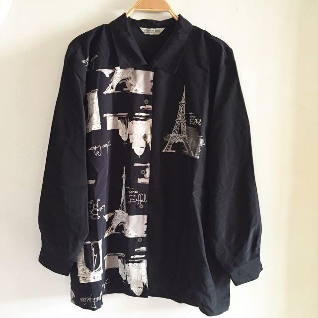 🎈古著🎈日本製精高質感緻刺繡鐵塔寬鬆長版襯衫