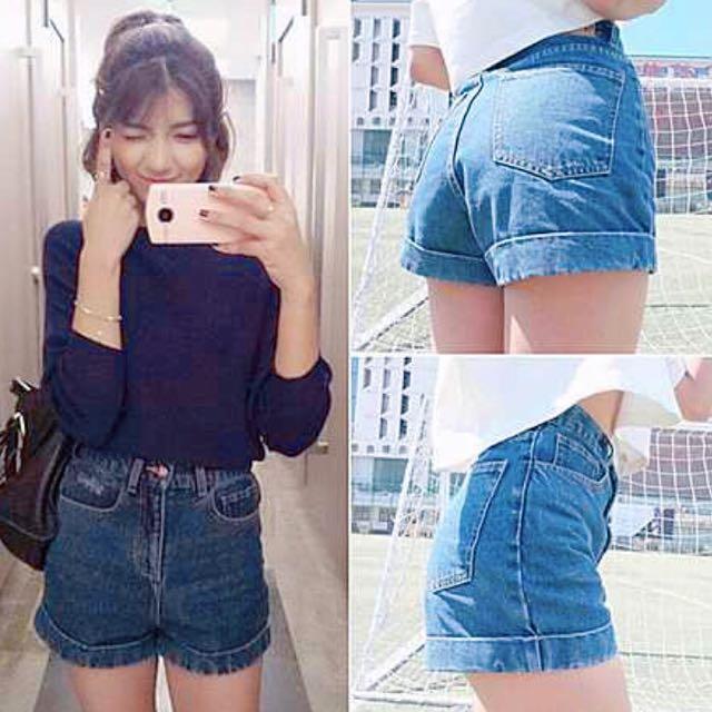 歐美高腰反折🌝字母口袋牛仔短褲 實拍