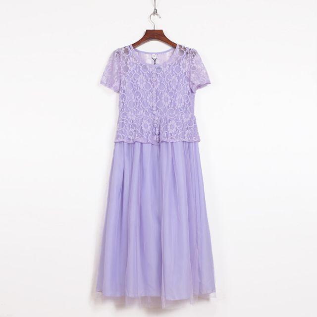 全新 (紫)時尚設計淑女假兩件蕾絲網紗長連衣裙洋裝(轉賣)